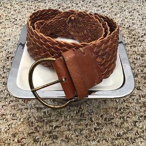 Gap Tan Leather Woven Belt